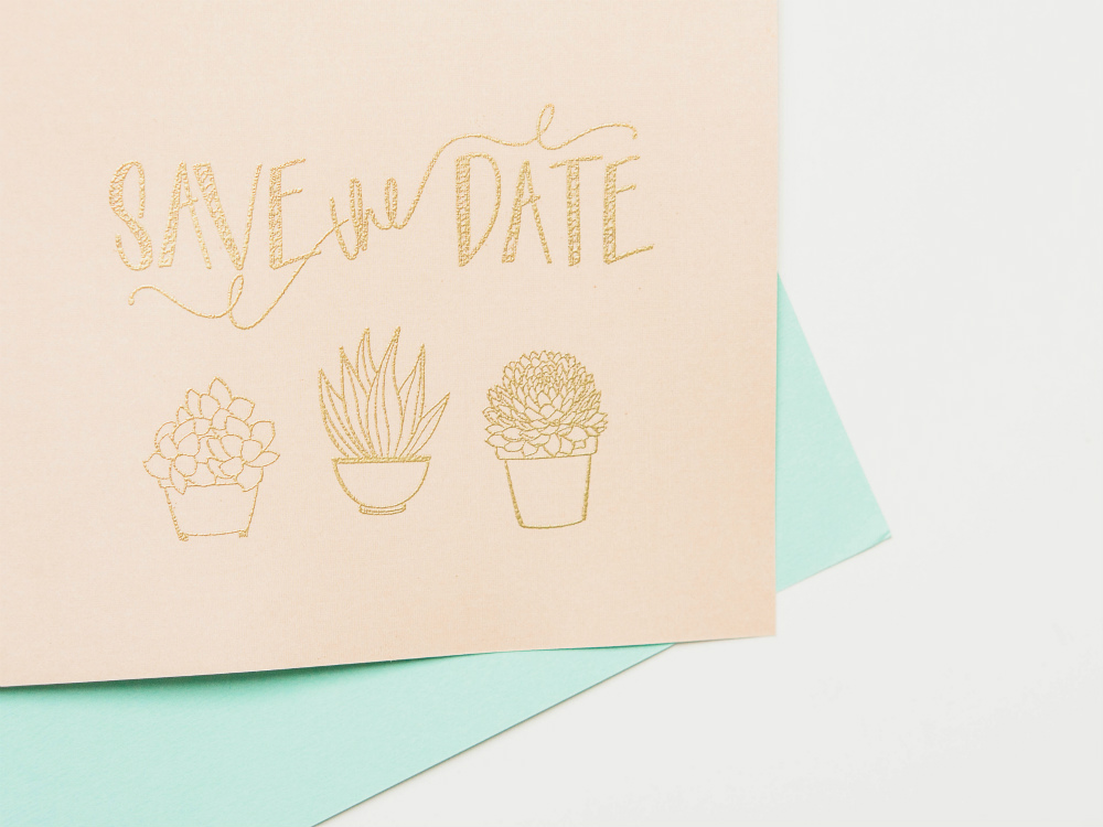 Succulent Embellished Save the Date Cards