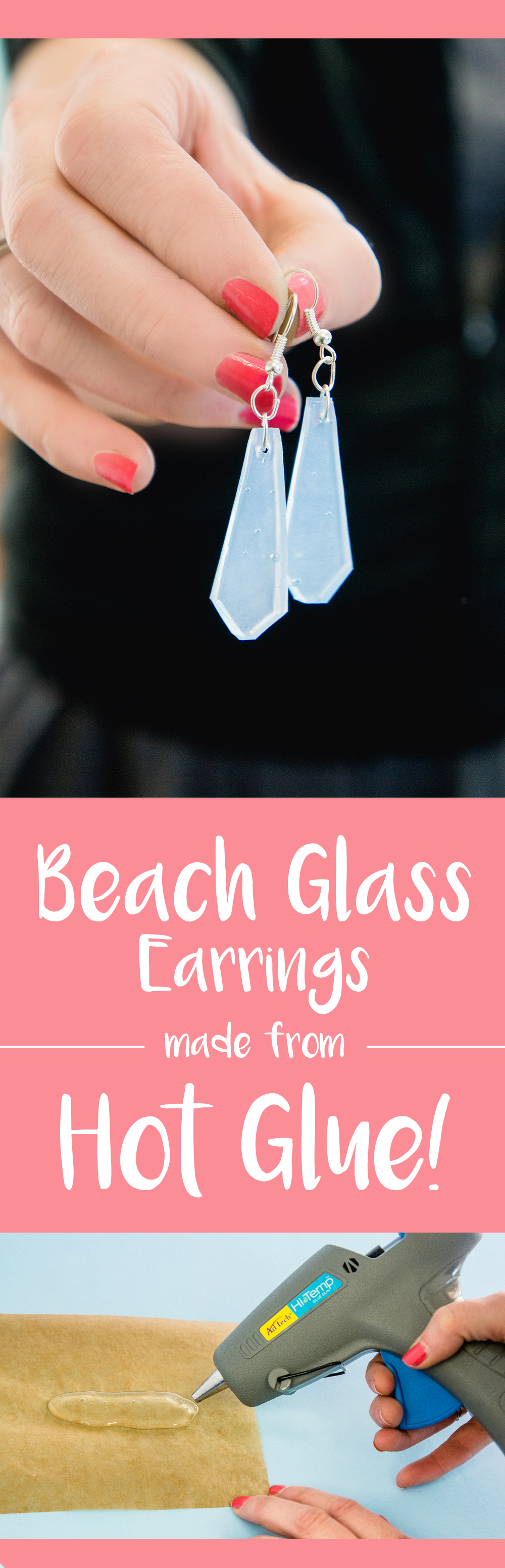 Beach Glass Earrings made with AdTech® Hot Glue - DIY Hot Glue Sea Glass Jewelry