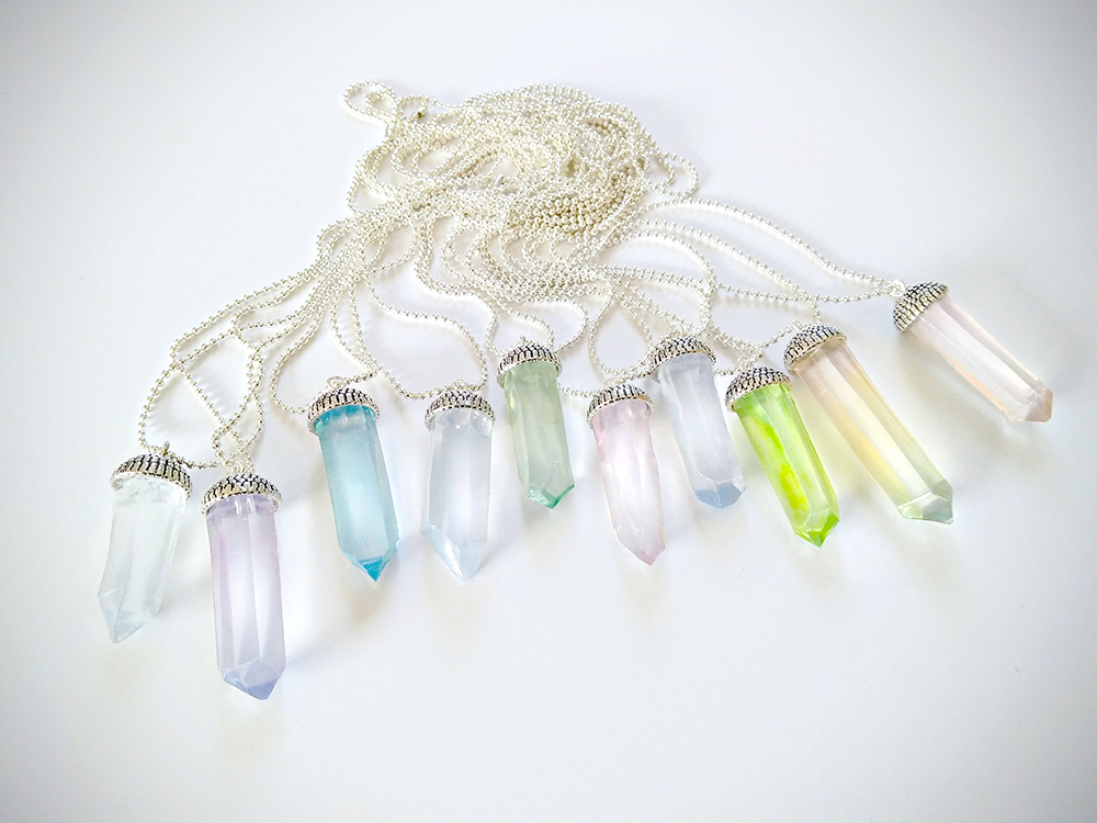 DIY Carved AdTech Hot Glue Stick Crystal Necklace