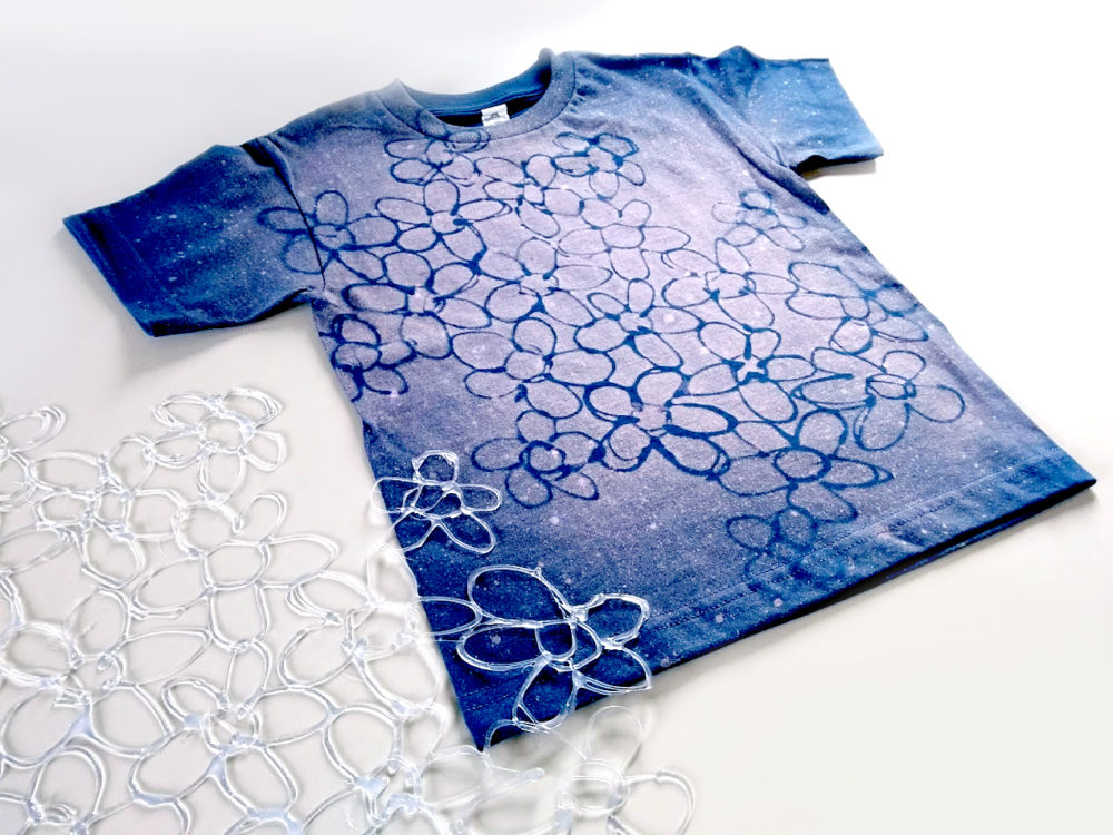 Bleached, Hot Glue Stenciled Batik Effect Shirt