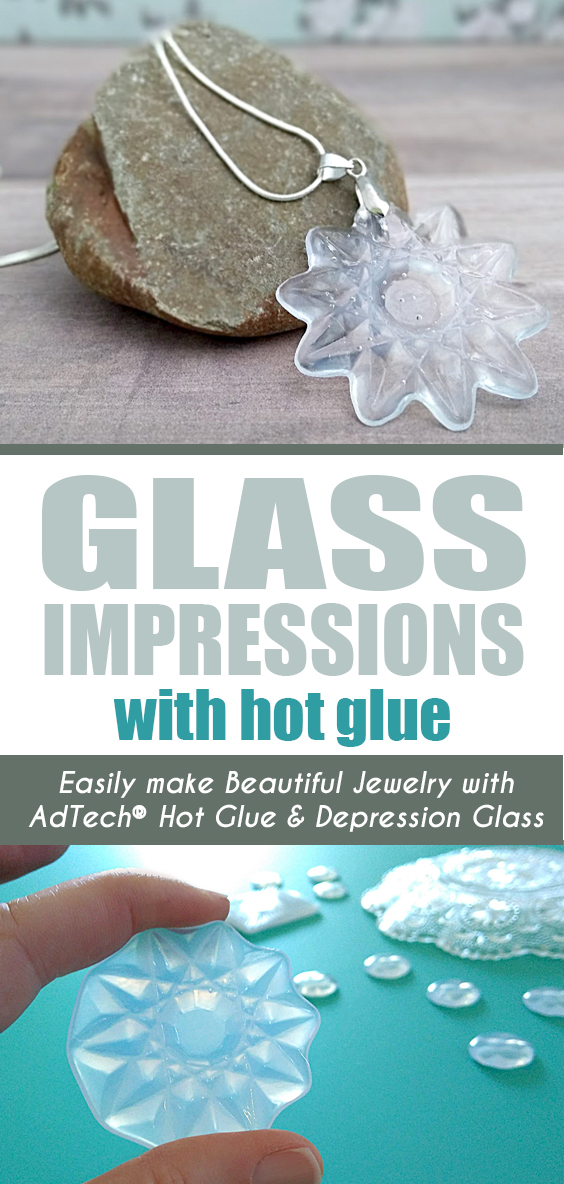 Hot Glue Jewelry - Create stunning jewelry, charms and ornaments in just minutes using old glass dishes as molds! #easycraft #mostpopularcrafts #adtech #hotglue #kidscraft #gluegun #depressionglass #cheapcraft #thisishotglue #glueasamedium #pendant #necklace