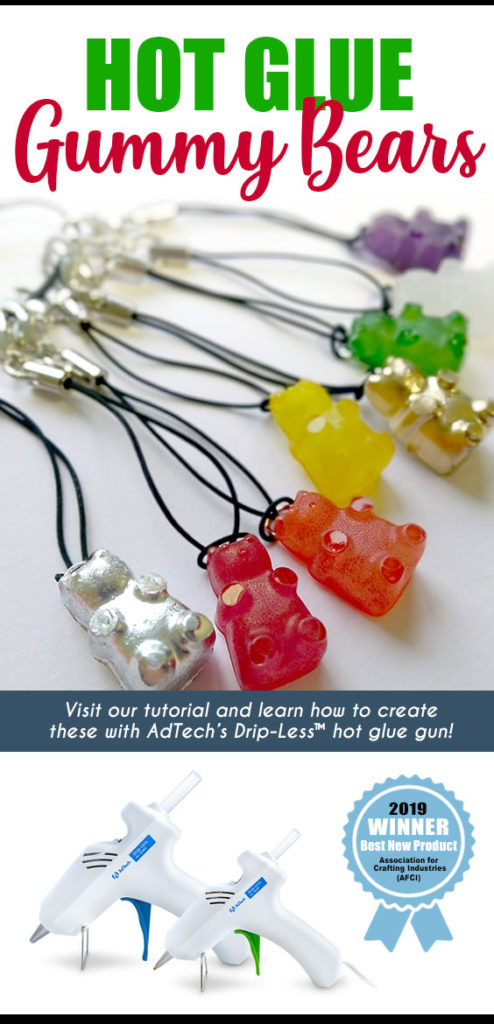 Hot Glue Gummy Bears - Make these cute little gummy bear charms out of AdTech hot glue and a silicone mold! Visit the AdTech blog to learn how to make hot glue gummies and much more. Great craft project for older kids and teens. Listen to the Gummy Bear Song while you craft! #hotglue #gluegun #gluesticks #adtech #thisishotglue #thestudio #kidscraft #kidcraft #gummybears #gummybearsong #gummybearcharms #gummybearnecklace
