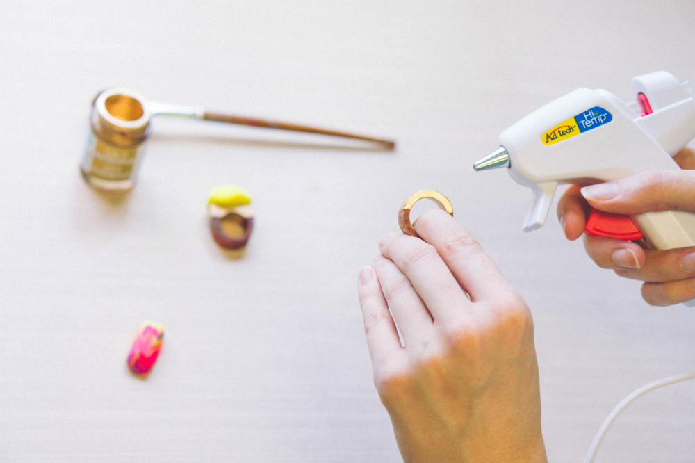Glue Your Own Homemade Jewels to Wooden Rings