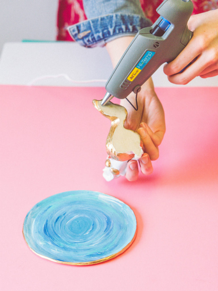 Easy Ring Dish DIY - Glue Mermaid Figurine to Base