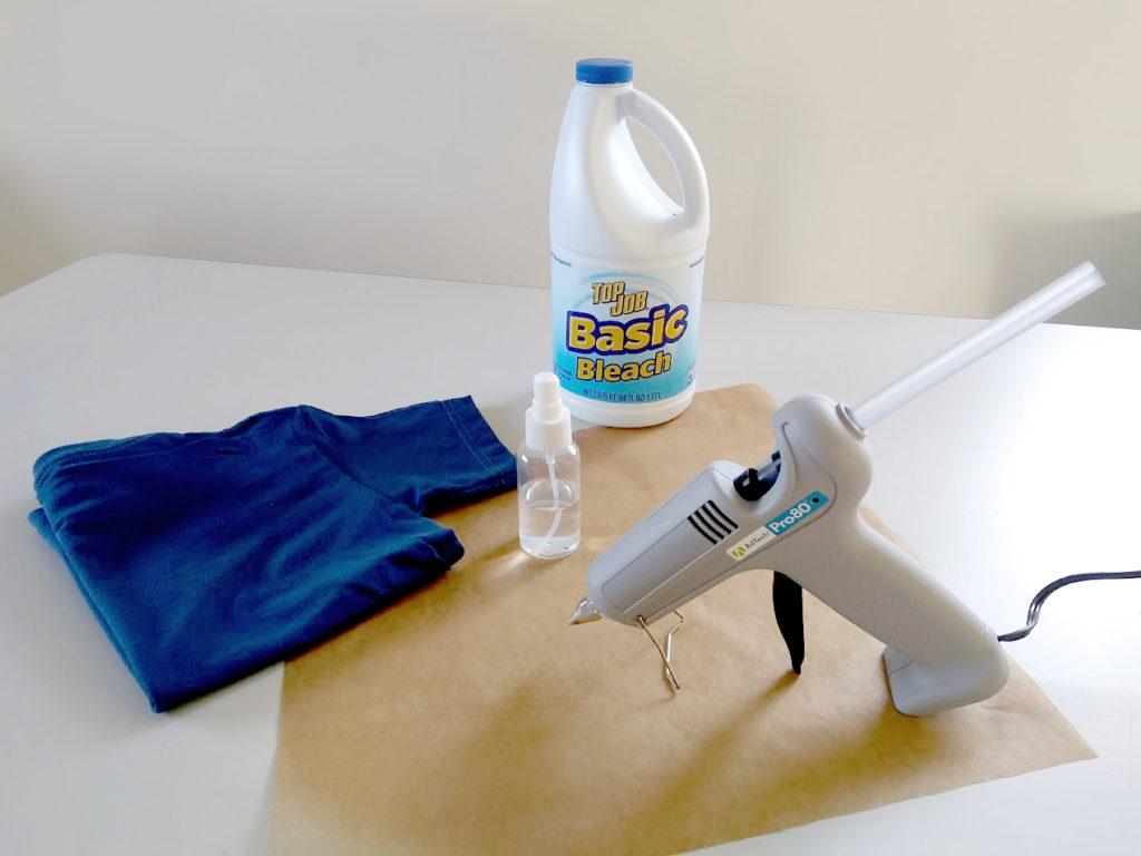 Supplies: AdTech Pro 80 glue gun, t-shirt, bleach, spray bottle, parchment paper - AdTech DIY Hot Glue Stencil T-Shirt Project