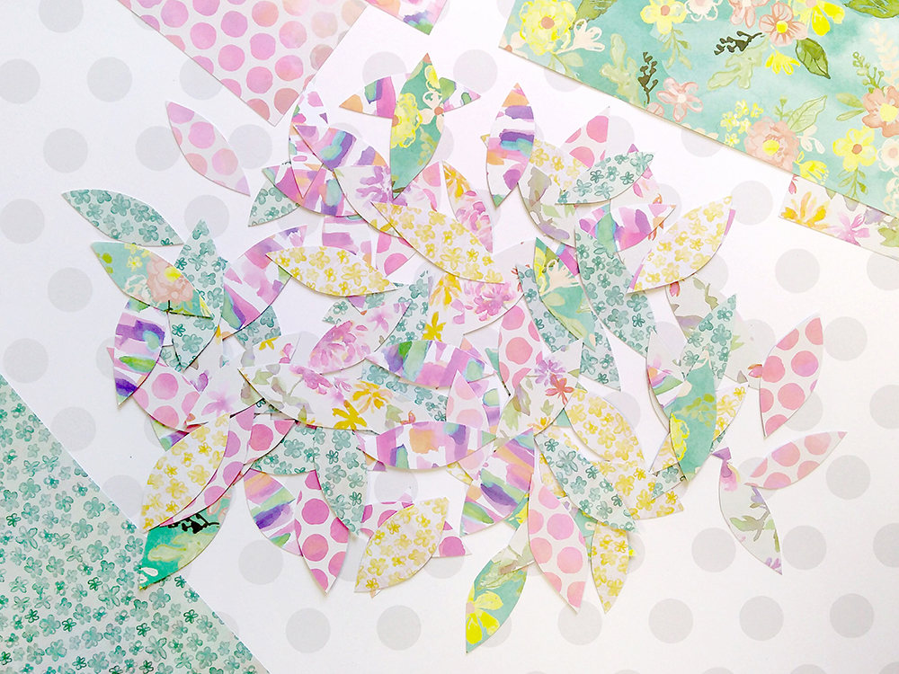 Spring Tree: Cut out paper leaves