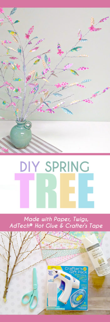 Make this pretty Spring Tree as a centerpiece or home decor. Great for Easter! Learn how to DIY this simple project. #spring tree #eastercraft #springcraft #kidscraft #scrapbooktree #hotglue #gluegun #adtech