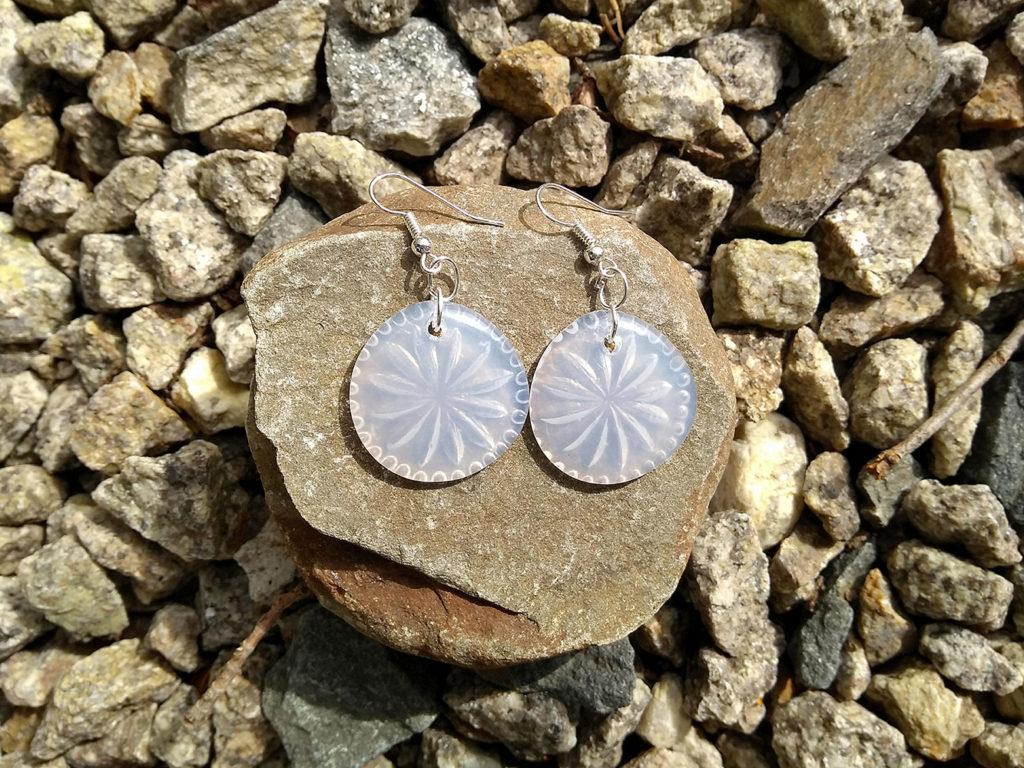 AdTech hot glue pressed glass earrings